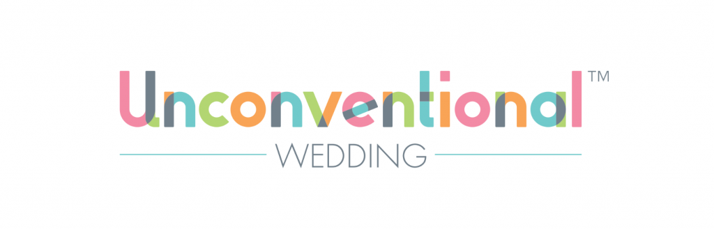 Unconventional Wedding website logo in multicoloured text
